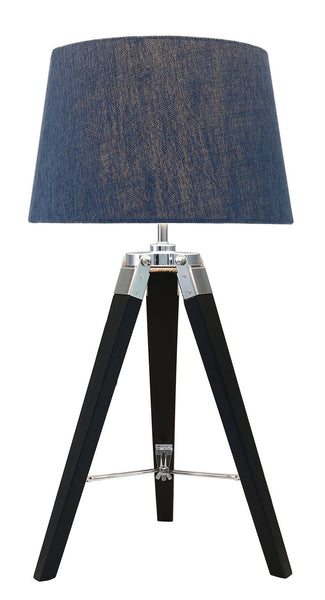 Black Hollywood Tripod Table Lamp With Blue Shade