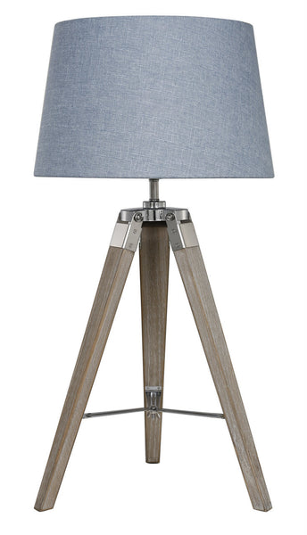 Natural Grey Hollywood Table Lamp With Blue Shade