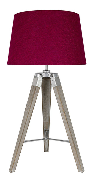 Grey Hollywood Table Lamp With Square Red Linen Shade