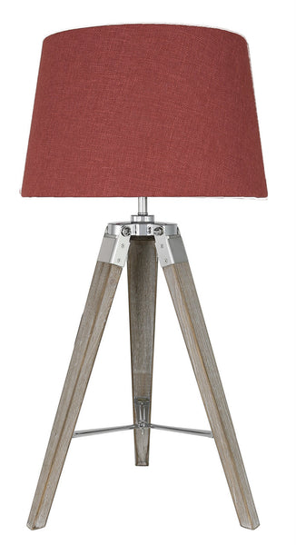 Grey Hollywood Table Lamp With Square Terracotta Linen Shade