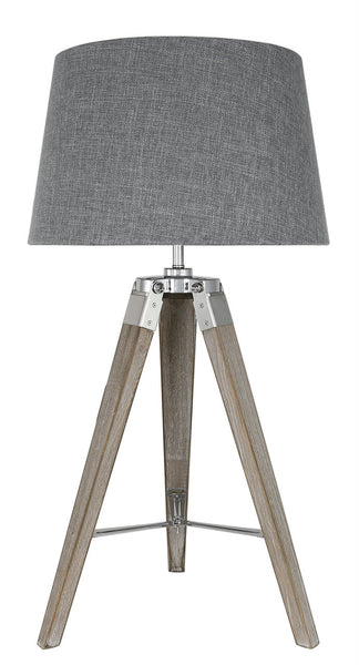 Natural Grey Hollywood Table Lamp With Grey Terracotta Linen Shade