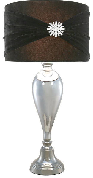 Chrome Glass Classical Table Lamp With Black Velvet And Crystal Shade