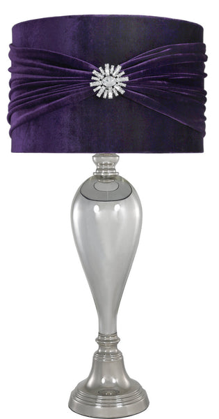 Chrome Glass Classical Table Lamp With Purple Velvet And Crystal Shade