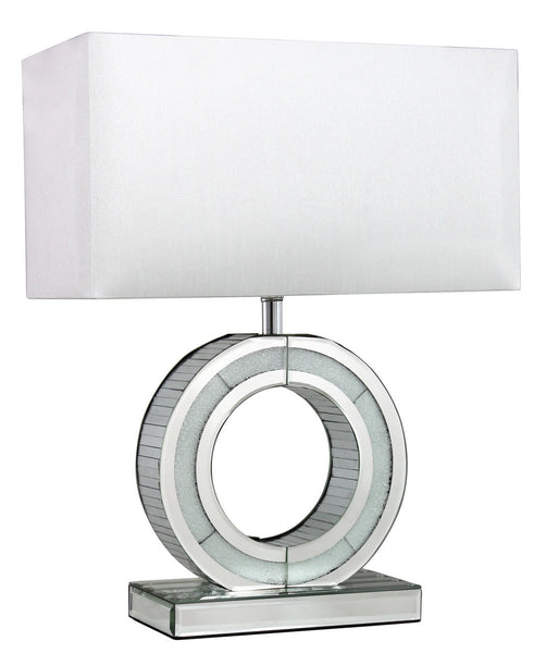 Small Diamond Crush 'O' Lamp With White Shade
