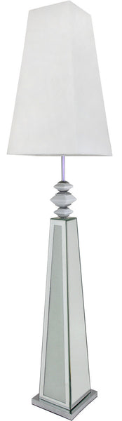 Mirror Diamond Crush Pebble Floor Lamp With White Shade