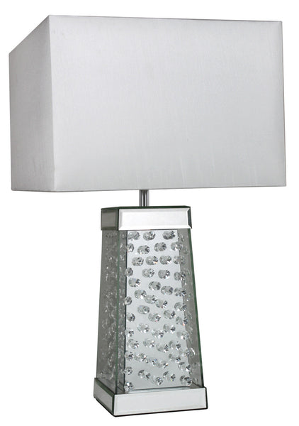 Astoria Mirror Floating Crystal Cone Table Lamp With White Shade