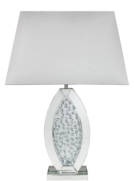 Astoria Mirror Floating Crystal Oval Table Lamp With White Shade