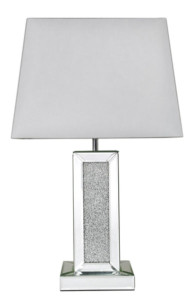 Milano Mirror Rectangle Table Lamp With White Shade