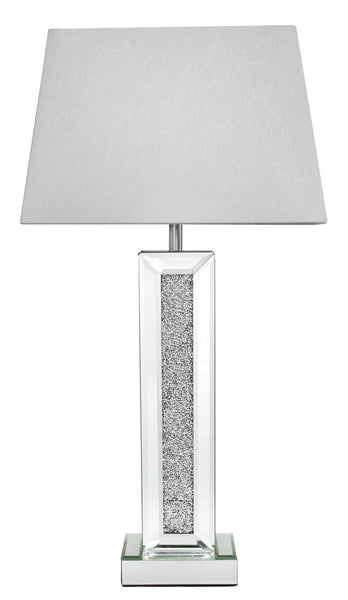 Milano Mirror Pillar Lamp With 13 Inch White Shade