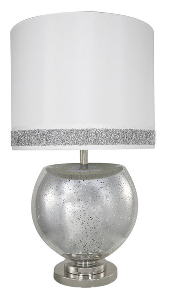 Silver Mercury Bowl Table Lamp With A White Milano Stripe Cylinder Shade