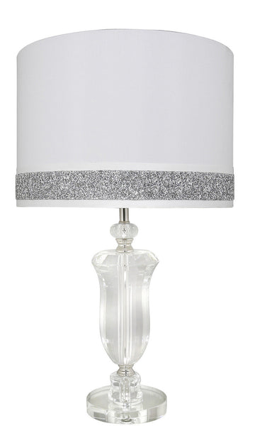 Crystal And Silver Glass Lamp With 15 Inch Milano Shade