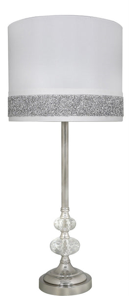 Crystal Cut Glass And Chrome Table Lamp With A Milano Stripe Shape