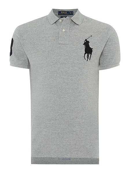 Ralph Lauren Big Pony Short Sleeved Mens Polo Shirt Grey/White