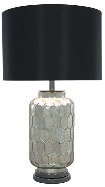 Mayfair Mercury Glass Large Table Lamp With Black Linen Shade