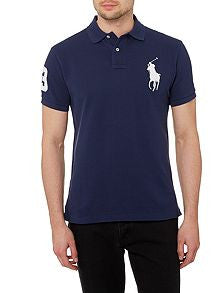 Ralph Lauren Big Pony Short Sleeved Mens Polo Shirt Navy/White