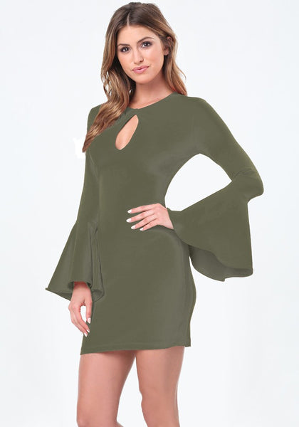 Olivia Khaki Bell Sleeves Bodycon Dress