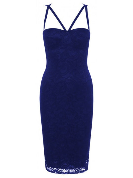Aliza Royal Blue Lace Overlay Padded Bust Open Criss Cross Back Bodycon Dress