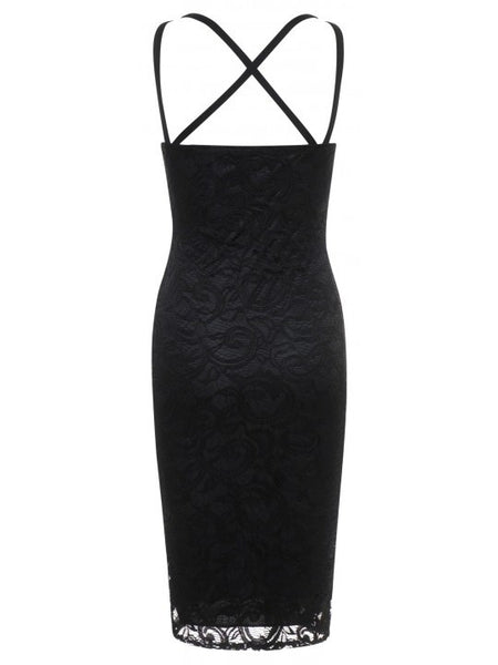 Aliza Black Lace Overlay Padded Bust Open Criss Cross Back Bodycon Dress