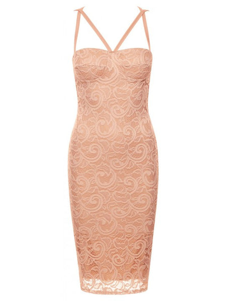 Aliza Peach Lace Overlay Padded Bust Open Criss Cross Back Bodycon Dress