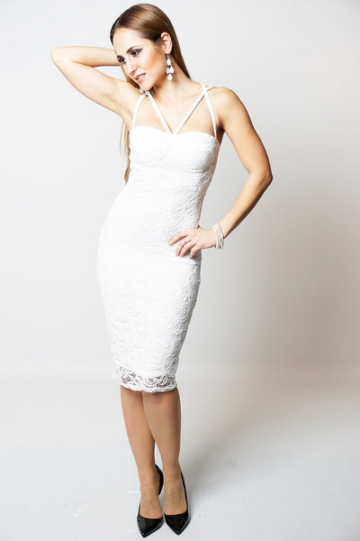 Aliza Cream Lace Overlay Padded Bust Open Criss Cross Back Bodycon Dress