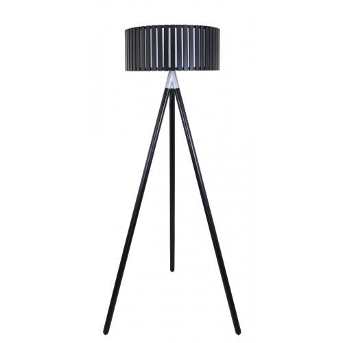 Black Hollywood Floor Lamp With Round Wooden Shade