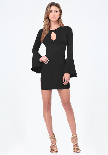 Olivia Black Bell Sleeves Bodycon Dress