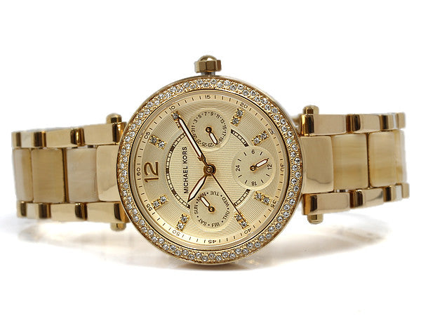 Michael Kors Women's Chronograph Mini Parker Horn Acetate and Gold-Tone Watch MK5842