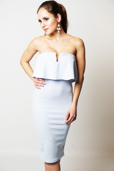 Helena Ice Blue Frill Overlay Bandeau Dress