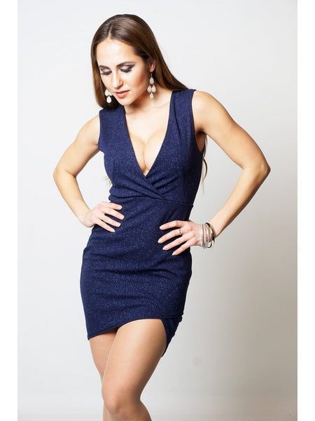 Karina Navy Shimmer Wrap Asymmetric Dress