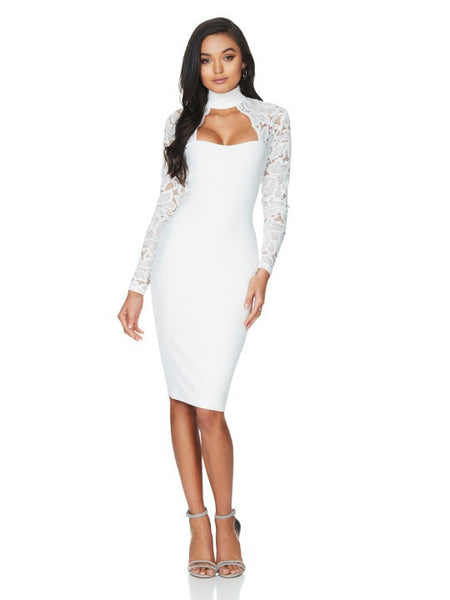 Stella Ivory Lace Long Sleeve Midi