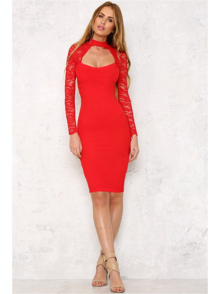 Stella Red Lace Long Sleeve Midi
