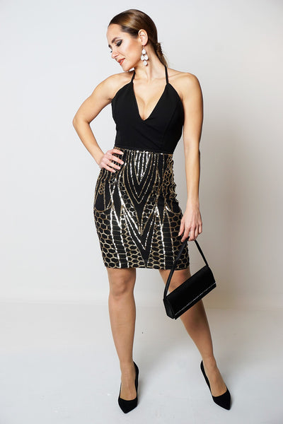 Tracy Black Gold Contrast Delicate Sequins Dress