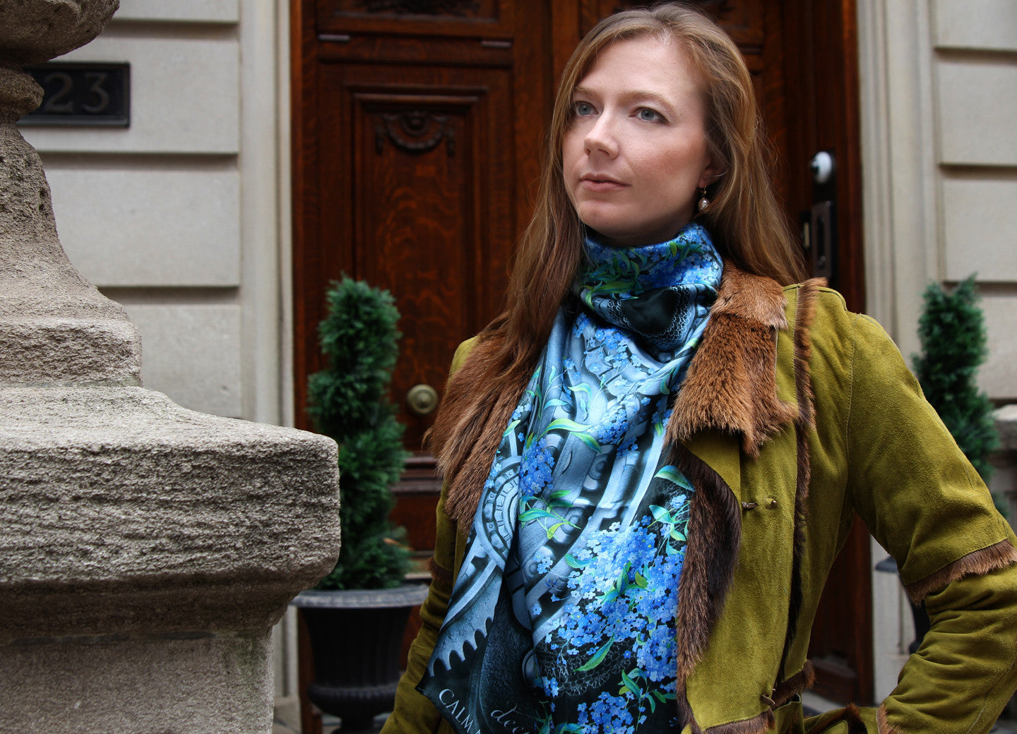Women S Blue Grey Floral Square Silk Scarf Forget Me Nots By