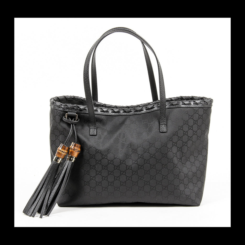 309ebacf25f Gucci Ladies Black Grain Leather Bamboo Tassel Handbag – Style et Luxe