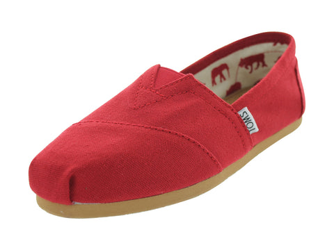 Toms Women's Classic Canvas Slip On Red Shoes