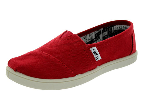 Toms Classic Canvas Slip On Kids/Youth Shoes Red