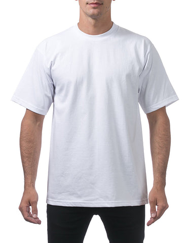 Pro Club Men's Heavyweight Cotton Short Sleeve Crew Neck T-Shirt White