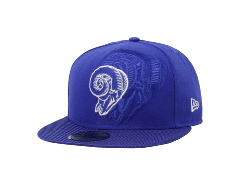 New Era 59Fifty Hat Los Angeles Rams NFL On Field Team Royal Blue Fitted Cap