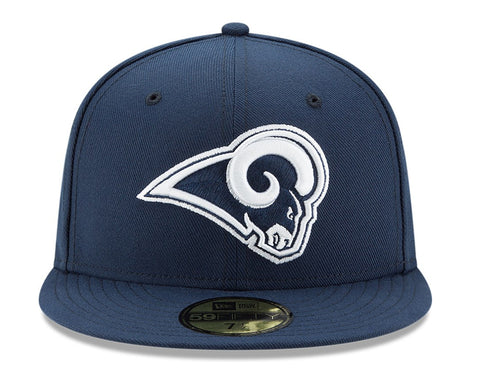 ... New Era 59Fifty Hat Los Angeles Rams 2Tone Navy Blue Fitted Cap ... ced5a290f