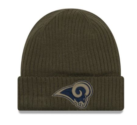 New Era Hat Los Angeles Rams Salute to Service Green Knit Beanie