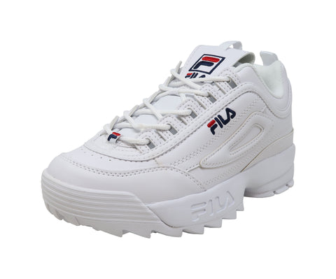 Fila Big Kid/Juniors/Youth Shoes Disrutor II Leather White Sneakers