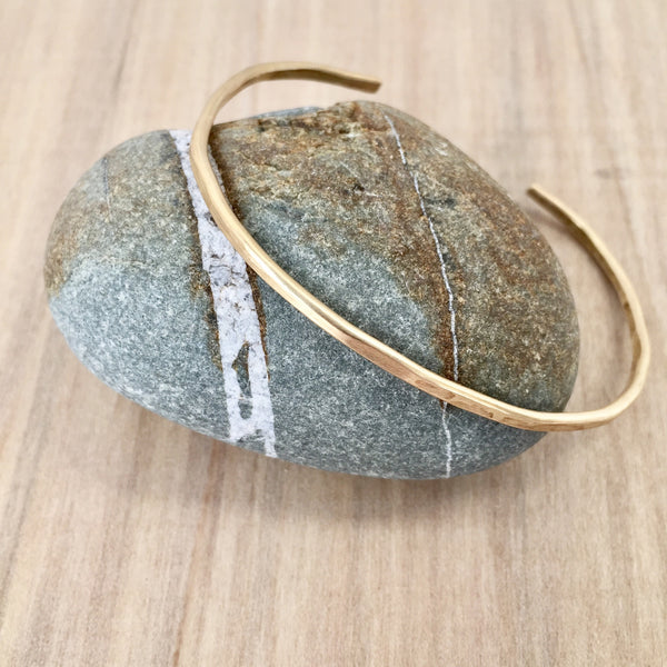 Brass Top Hammered Cuff