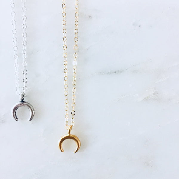 Tiny Crescent Horn Necklace