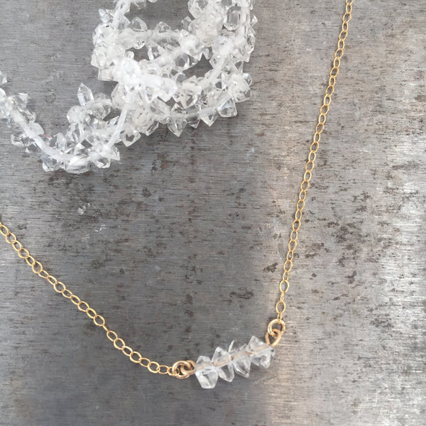 Herkimer Diamond Four Stone Necklace