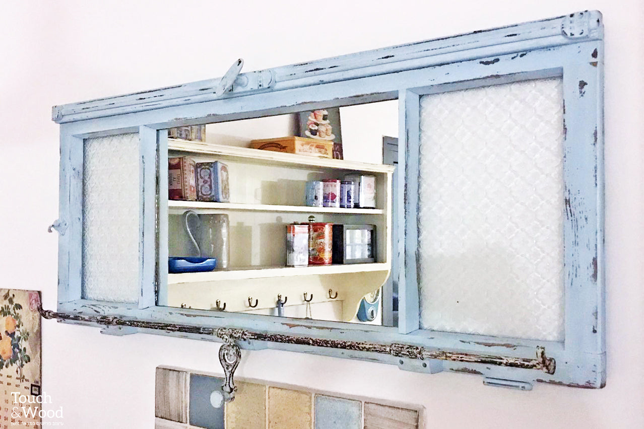 window frame with mirror decorative glass and vintage hardware