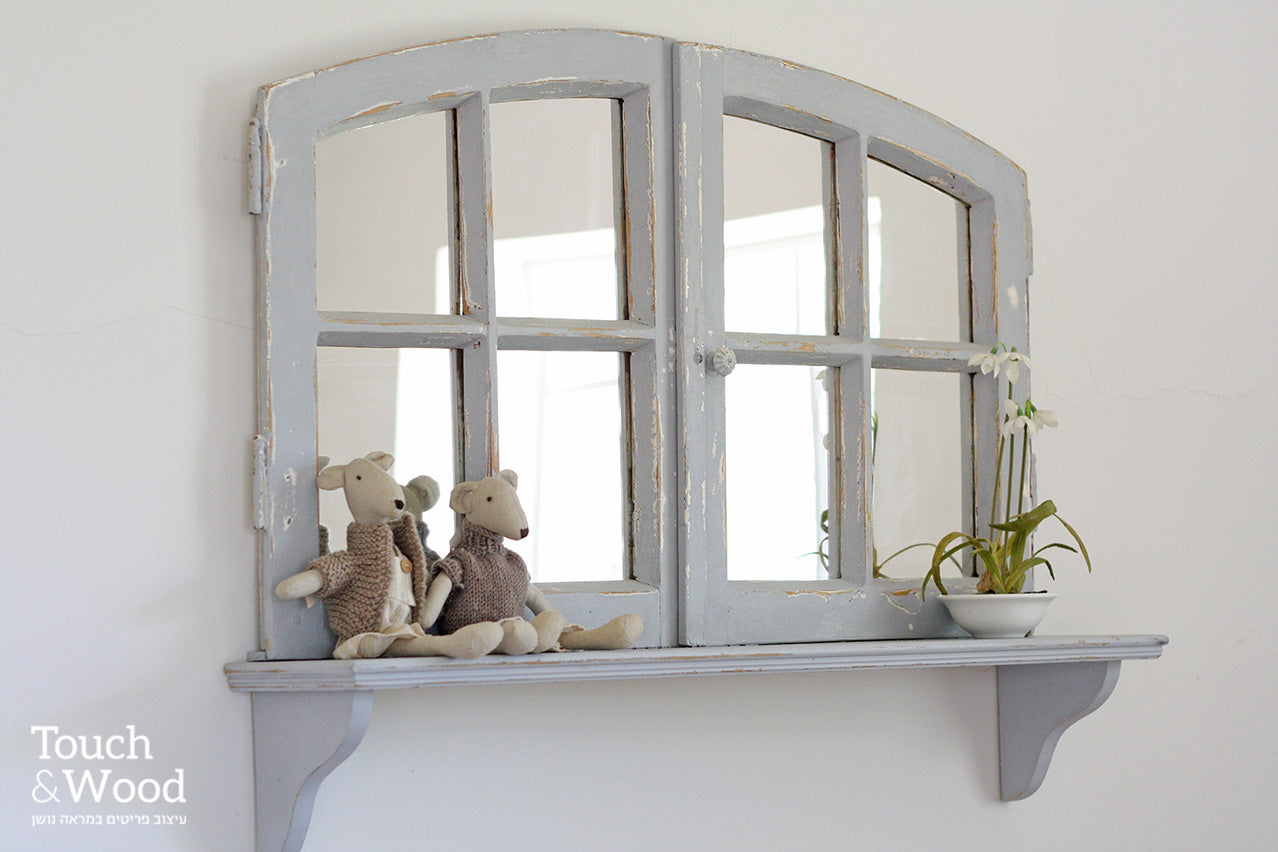 arc window frame with shelf