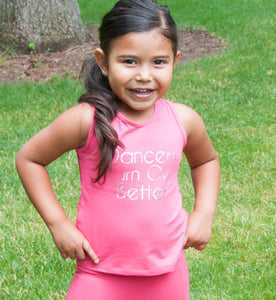 Dancers Turn Out Better, Racer Back Tank Top in On Point Hot Pink