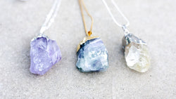 Round Raw Rock crystal necklaces