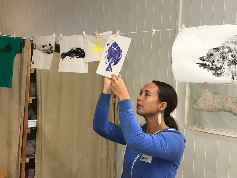Gyotaku Fish Printing with the Keiki of Hilo
