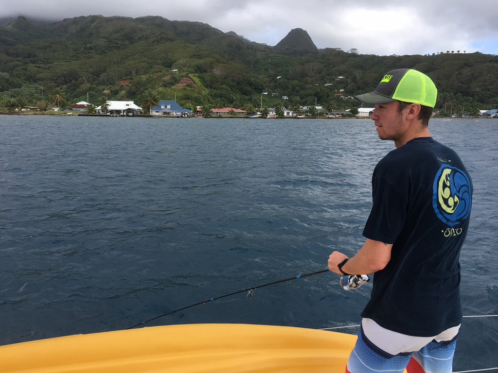 Connor fishing off Raiatea on Poe charters tahiti